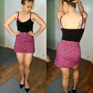 Retro print zip up mini skirt